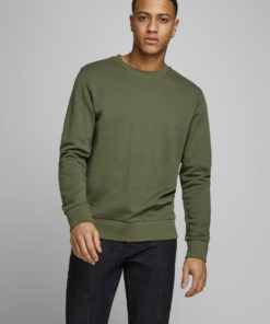 Jack & Jones Mens Holmen Crew Neck Sweater - Olive Night