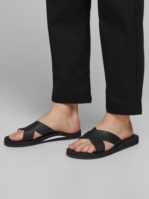 Jack & Jones Mens Nova Leather Slides - Anthracite