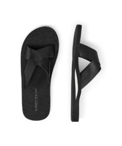 Jack & Jones Mens Nova Leather Slides - Anthracite