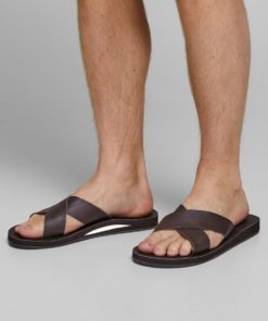 Jack & Jones Mens Nova Leather Slides - Java Brown