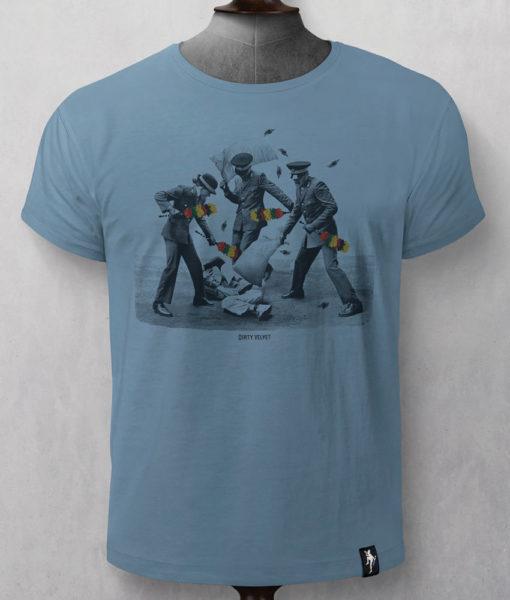 Dirty Velvet Armed Police Graphic Tee - Noble Blue