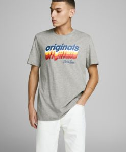 Jack & Jones Venture Chest Print Tee - Light Grey