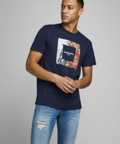 Jack & Jones Tropic Print Tee - Navy