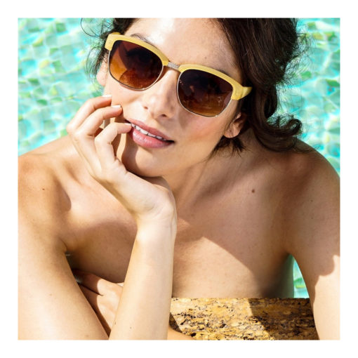 Yellow half frame retro style sunglasses with brown lenses. Category 3 protection. Come with a beautiful hard case and paisley cleaning cloth.