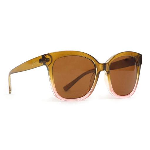 Powder Marcia Olive and Pink Frame Retro Ladies Sunglasses