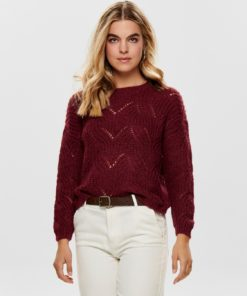 Only Havana Womens Knit Slouchy Jumper - Merlot