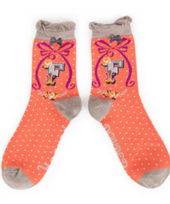 Powder Alphabet Monogram Bamboo Ladies Socks 'F'