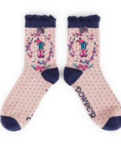 Powder Alphabet Monogram Bamboo Ladies Socks 'I'