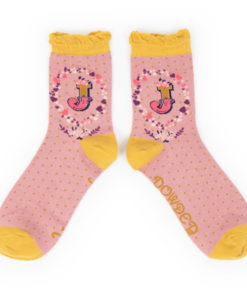 Powder Alphabet Monogram Bamboo Ladies Socks 'J'