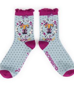 Powder Alphabet Monogram Bamboo Ladies Socks 'T'