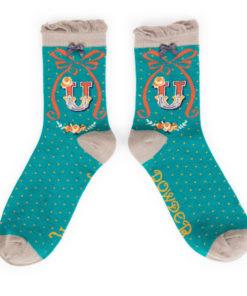 Powder Alphabet Monogram Bamboo Ladies Socks 'U'