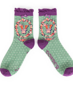 Powder Alphabet Monogram Bamboo Ladies Socks 'V'