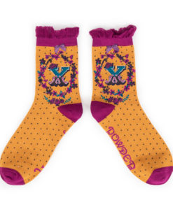 Powder Alphabet Monogram Bamboo Ladies Socks 'X'