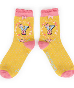 Powder Alphabet Monogram Bamboo Ladies Socks 'Y'
