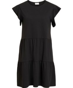 Vila Visummer Black Jersey Tiered Summer Dress