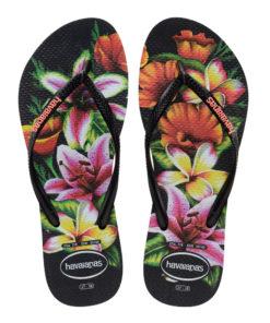 Havaianas Womens Slim Floral Black Flip Flops