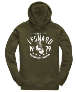 Sugar Ray Leonard Olive Training Boxing Premium Hoodie
