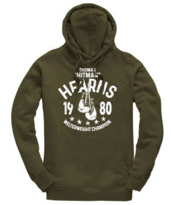 Thomas Hitman Hearns Olive Training Boxing Premium Hoody