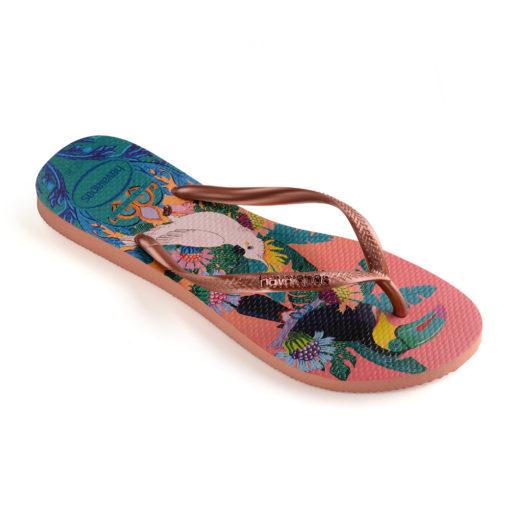 Havaianas Womens Slim Tropical Rose Flip Flops