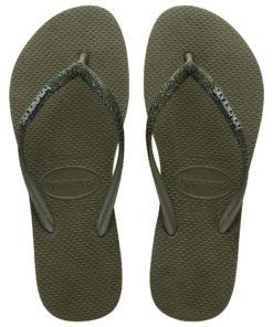Havaianas Womens Slim Glitter II Olive Green Flip Flops