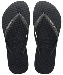 Havaianas Womens Slim Glitter II Black/Dark Grey Metallic Flip Flops