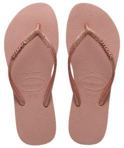 Havaianas Womens Slim Glitter II Crocus Rose Gold Flip Flops