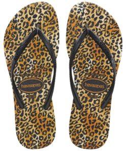 Havaianas Womens Slim Leopard Black/Black Flip Flops