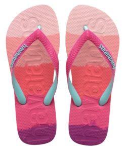 Havaianas Womens Logomania Multicolour Gradient Pink Gum Flip Flops