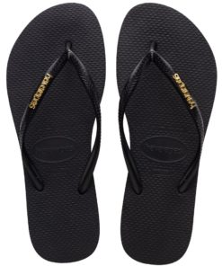 Havaianas Womens Slim Logo Metallic Black Gold Flip Flops