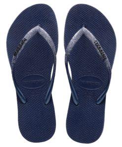 Havaianas Womens Slim Sparkle II Navy Blue Flip Flops