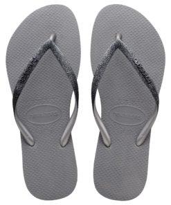 Havaianas Womens Slim Sparkle II Steel Grey Flip Flops