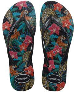 Havaianas Womens Slim Tropical Black/Dark Grey Metallic Flip Flops