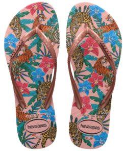 Havaianas Womens Slim Tropical Ballet Rose/Pink Retro Metallic Flip Flops