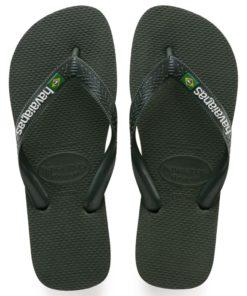 Havaianas Mens Brasil Logo Green Olive Flip Flops