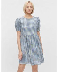 Pieces Vilja Short Blue Gingham Puff Sleeve Dress